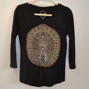 Peacock Lucky Brand Black Shirt